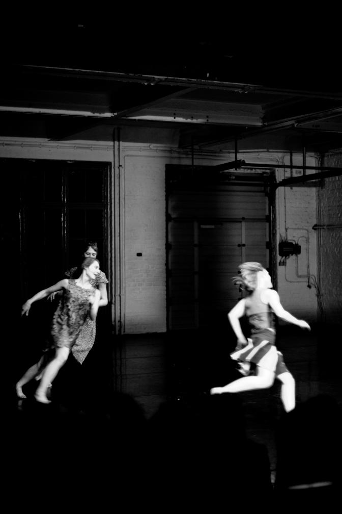 Three dancers running